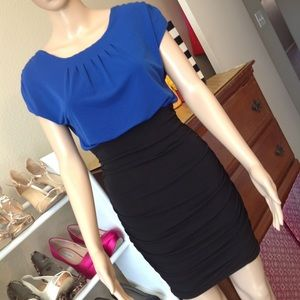 Blue and black color block dress